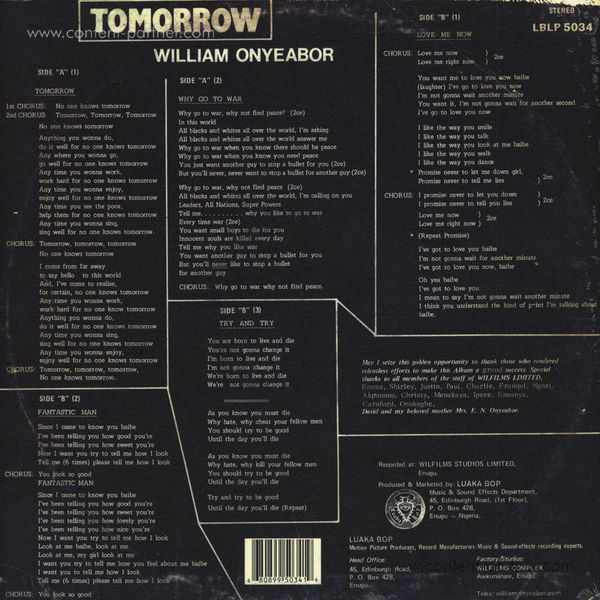 William Onyeabor - Tomorrow (Re-Issue) (Back)