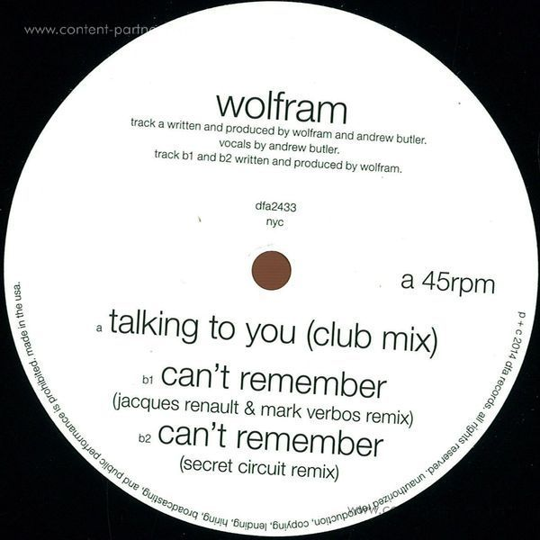 Wolfram - Talking To You / Can't Remember