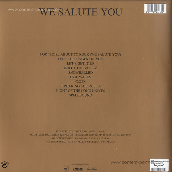 ac/dc - for those about to rock we salute you (Back)