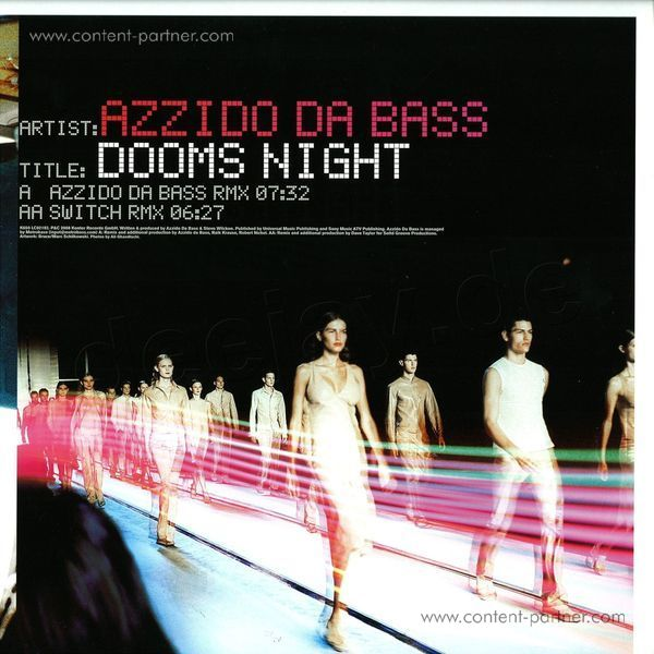 azzido da bass - dooms night 2008 (BACK IN STOCK) (Back)