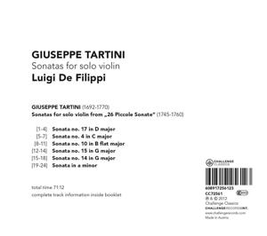 de filippi,luigi - sonatas for solo violin (Back)