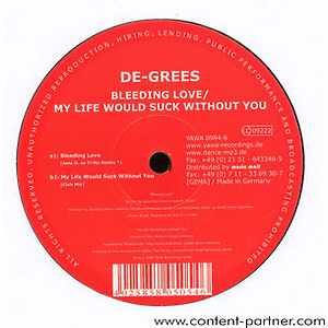 de-grees (FRESHLY REPRESSED) - bleeding love / my life would suck witho