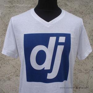 djshop t-shirt - blaues dj logo / größe L