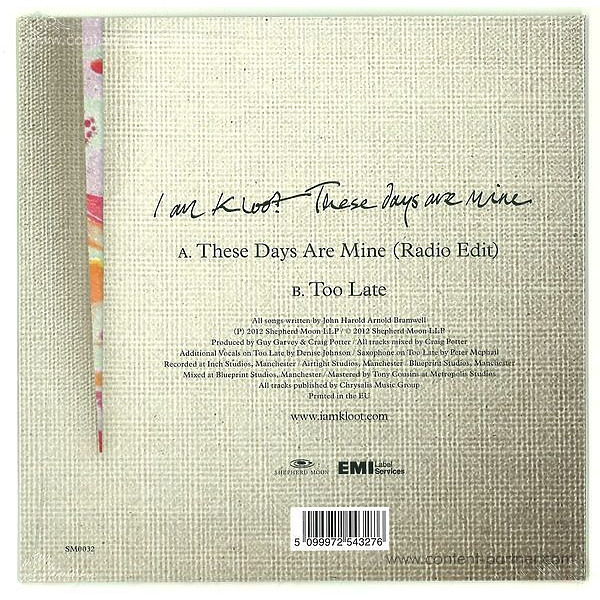 i am kloot - These Days Are Mine (Back)