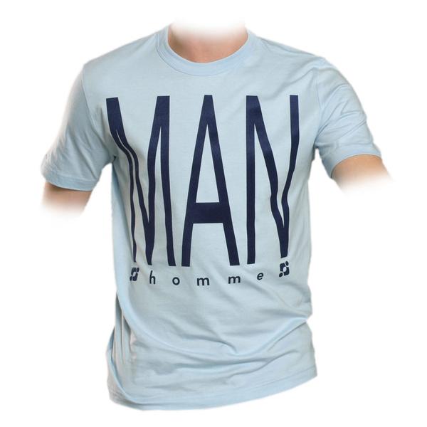 supa tshirt hellblau - THE MAN flockdruck - M