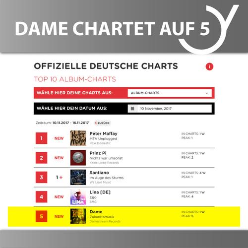 DAME auf Platz 5 der Deutschen Album Charts