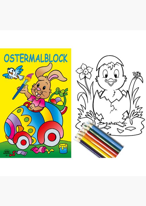 Bilderbuchverlag Otto Moravec - Ostermalblock gelb + 6 Buntstiften